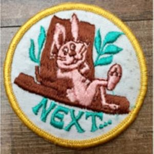 "Vintage ""Next..."" Frisky Rabbit Vest Patch"